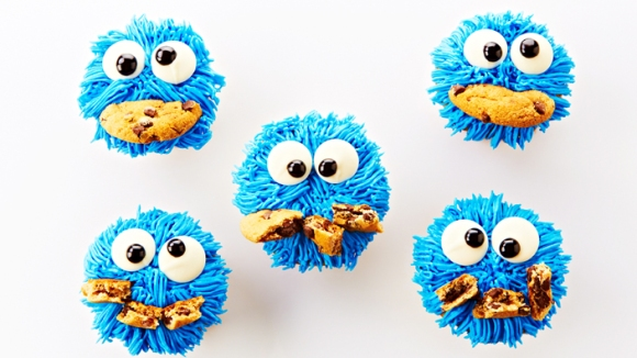 Chocolate Chip Cookie Monster Cupcakes